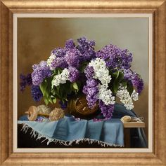 How To Draw Painting, Oil Painting Flowers, Still Life, Art Reference, Floral Wreath, Wreaths, Lavender, Drawings, Crafts