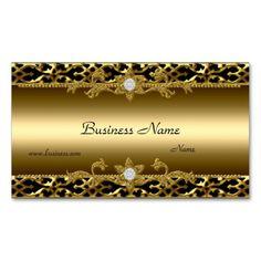 Elegant Gold Trim Black Diamond Jewel Business Card Template