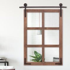 Charlton Home Elmsley Single Panel Steel Fireplace Screens & Reviews | Wayfair Farmhouse Wall Mirrors, Rustic Mirrors, Rustic Walls, Wood Windows, Wood Doors, Window Security Bars, Home Wet Bar, Distressed Walls, Contemporary Wall Mirrors