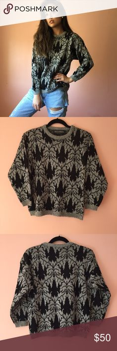 Vintage Fall Flora Sweater Take the ugly out of ugly holiday sweaters in this vintage flora sweater. Features a ribbed crew neck, flora motif pattern in gray on black background, long sleeves and pull on style. Wear with black leather for a chic look. Fits like a small/medium. No returns allowed. Please ask all questions before buying. IG: [at] jacqueline.pak #vintage Vintage Sweaters Crew & Scoop Necks