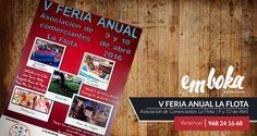 Ven este fin de semana a disfrutar la V Feria Anual de La Asociación de Comerciantes de La Flota, los días 9 y 10 y aprovecha para degustar nuestras tapas y novedades culinarias, ¡Te sorprenderán!  Te esperamos en La Flota, Reservas: 968241668
