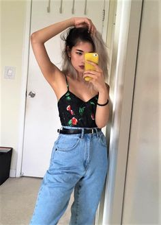 Ribbed floral cami with high waisted denim jeans by pameluft