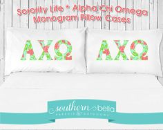 cozy fresh be126 7e679 Alpha Chi Omega  Lilly-Inspired Greek Letters  A PAIR of Pillow Cases Room
