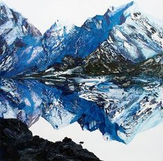 Neil Frazer - Melt Down oil over acrylic on canvas stretcher: 1525 x 1520 x 34 mm Artist Painting, Mountains, Canvas, Typography, Travel, Paintings, Oil, Models, Inspiration