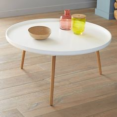 Table basse bicolore plateau rond diamètre 90 cm