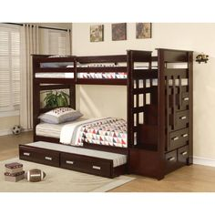 This well constructed and fun twin over twin bunk bed combines the useful features of storage and extra sleep space. With its rich espresso finish and storage drawers, its versatility for your family is a plus.