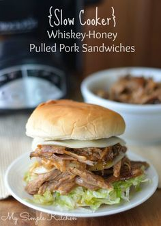 Slow Cooker Honey Whiskey Pulled Pork Sandwiches