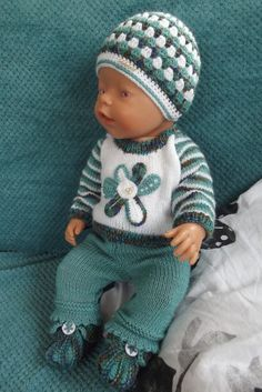 Jarní komplet s kytičkami Baby Born Clothes, Girl Doll Clothes, Pet Clothes, Girl Dolls, Baby Dolls, Crochet Doll Clothes, Knitted Dolls, Baby Suit, Bear Doll