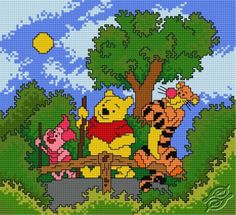 Winnie the Pooh, Tigger and Piglet - Free Cross Stitch Pattern