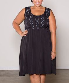 Another great find on #zulily! Sealed With a Kiss Designs Black Shanna A-Line Dress - Plus by Sealed With a Kiss Designs #zulilyfinds