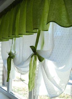 Купить Занавес на кухню - комбинированный, занавес, штора, шторы на кухню, занавески, лён, хлопок, кружево