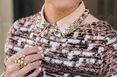 Super sweet DIY collars studs.  This is perfect for bringing back the sweater over shirt look this fall.