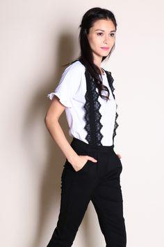 845d5f05b91d76 Two Piece Crochet Strap Jumpsuit (Black White) SGD  39.00
