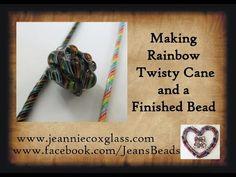 Lampwork Glass Rainbow Twistie Canes by Jeannie Cox - YouTube