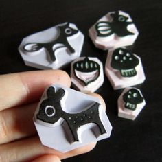 Woodland Animals Rubber Stamps set of 6 by ParadeMade on Etsy Diy Stamps, Homemade Stamps, Custom Stamps, Make Your Own Stamp, Yarn Crafts, Diy Crafts, Craft Stalls, Stamp Carving, Tampons