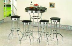 5 Piece Retro Black Bistro Table & Pub Set With 4 Barstoo...