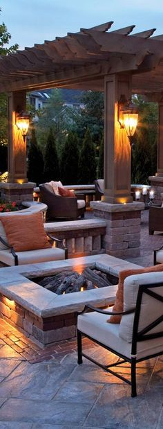 Fabulous Tips: Fire Pit Backyard Pergola easy fire pit seating.Fire Pit Backyard Pergola fire pit backyard above ground. Outside Living, Outdoor Living Areas, Outdoor Rooms, Outdoor Decor, Outdoor Kitchens, Backyard Fireplace, Backyard Patio, Backyard Landscaping, Fireplace Ideas