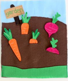 "I love this for so many reasons!! I want to make a felt book like this for M, but I also think it would be fun to have a bunch of different types (3 ea?) of flowers and veggies for her to ""plant"""