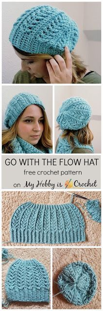 Go with the Flow Hat - free crochet pattern on myhobbyiscrochet.com