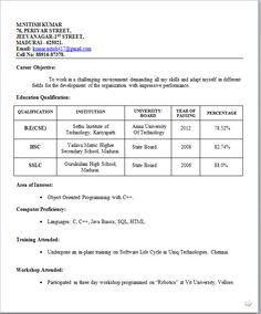 Resume Sample For Freshers Student - http://www.resumecareer.info/resume-sample-for-freshers-student-11/