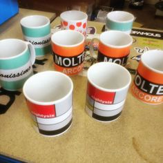 Another fresh batch of mugs just printed. #brightenyourride #coffee #cycling