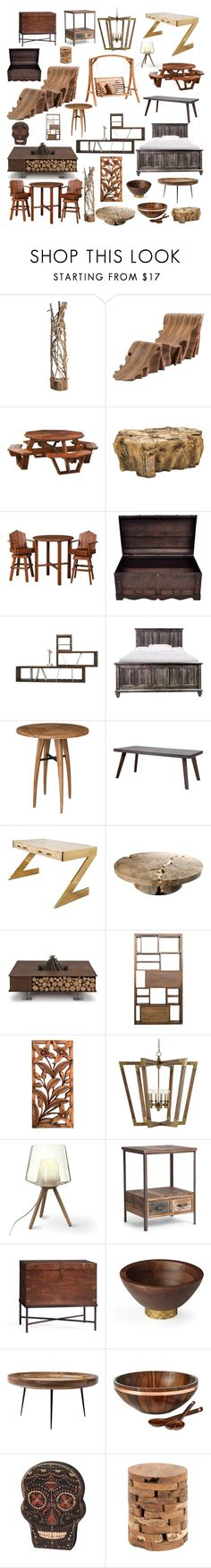 """Deco, wood chic"" by nadinezvous ❤ liked on Polyvore featuring interior, interiors, interior design, home, home decor, interior decorating, Altea, SecondoMe, DutchCrafters and Scandola Marmi"