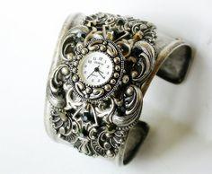 Women's Watch Cuff Bracelet with Swarovski  Rhinestones  - Steampunk Victorian Gothic Wrist Jewelry