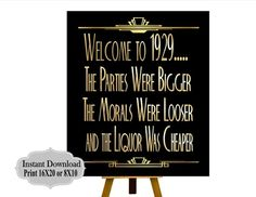PRINYABLE Welcome Roaring twenties party decoration. Gatsby Wedding Decorations, Bachelorette Decorations, Birthday Decorations, Wedding Ideas, Prohibition Party, Speakeasy Party, Party Like Gatsby, 1920s Party, Roaring Twenties Party