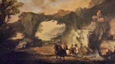 ANTONIO MARIA MARINI ( Venezia 1668 - 1725 ). PAESAGGIO CON DOPPIO ARCO DI ROCCIA E CAVALIERI. olio su tela. 116 × 146 cm. Collezione Privata.