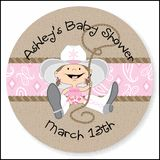 These cowgirl baby shower stickers can be personalized and used to stick on your favors or on you can give your guests to wear as they arrive.