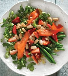 Smoked Salmon Salad with Strawberries, Green Beans & Watercress