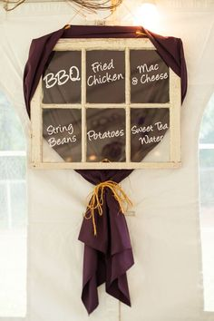 rustic wedding menu | Purple and Yellow Fall Wedding - A.J. Dunlap Photography | Heart Love Weddings