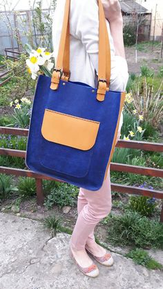 Items similar to Blue Leather Tote Bag.Yellow Tote on Etsy Italian Leather, Leather Handbags, Hand Sewing, Messenger Bag, Satchel, Etsy, Tote Bag, Trending Outfits, Unique Jewelry