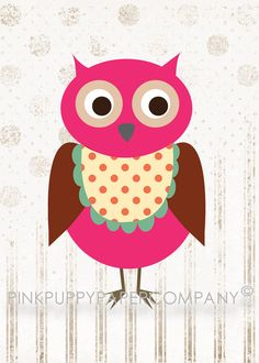 pink owl by Pink Puppy Paper Company