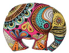 Embroidered Elephant Cushion by AnotherWorldTrading on Etsy Cute Cushions, Outdoor Cushions, Floor Cushions, All About Elephants, Elephant Cushion, Wood Carving Art, Textiles, Indian Elephant, Cool Art Projects