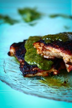 Spice Rubbed Chicken w/ Green Sauce  http://www.thetalkingkitchen.com/spice-rubbed-chicken-with-green-sauce/#