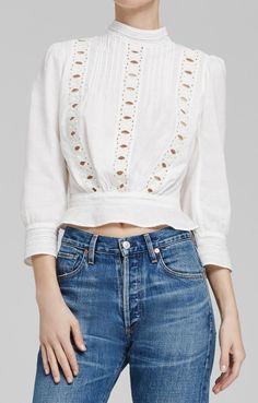 Josie Blouse in White Colorful Fashion, Boho Fashion, Fashion Outfits, Blouse Styles, Vintage Tops, Fashion 2020, Beautiful Outfits, Blouses For Women, Dame