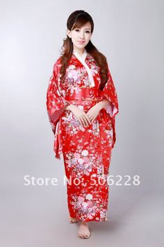 free shipping exquisite Japan Kimono dress in red ,women dress with Japan style have flower paint(China (Mainland))