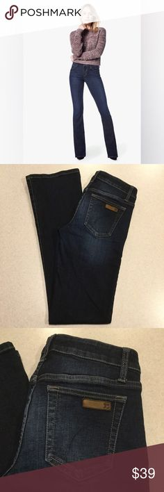 """Joe's Jeans 28X34 Honey Bootcut In Rue! Joe's Jeans The Honey Bootcut Rue wash Amazing fit! Size 28 34 inch long unaltered inseam, 15"""" waist, 8"""" rise A beautiful dark but vibrant blue wash with gold stitching Light weight and very stretchy Perfect condition, no flaws """"Versatile boot cut stretch jeans, specifically designed to flatter a curvier figure, are cast in a dark-blue rinse""""  All of my items come from a smoke free, pet free home and are authenticity guaranteed! Please ask any…"""
