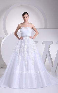 #Valentines #AdoreWe #Dorris Wedding - #Dorris Wedding Sleeveless A-Line Ruched Gemmed Waist and Gown With Appliques - AdoreWe.com
