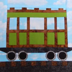Passenger train car paper pieced PDF block quilt pattern; baby boy's or child's quilt pattern; foundation paper pieced train block by MsPDesignsUSA on Etsy
