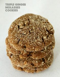 These Vegan Triple Ginger Cookies are soft and chewy, filled with molasses, fresh, candied and powdered ginger. soy-free.