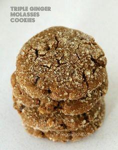 Vegan Triple Ginger Molasses Cookies | Vegan Richa. Made Just Right. Plant Based. Earth Balance.