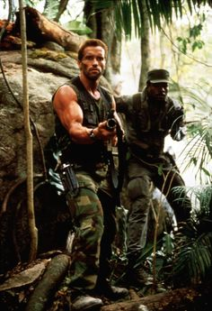 """Its a couple of guys running around"" Predator - Arnold Schwarzenegger, Carl Weathers Wanted Movie, 80s Movies, Movie Stars, Movie Tv, Predator Movie, Alien Vs Predator, King Kong, Os Goonies, Man In Black"