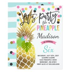 Party Like A Pineapple Birthday Invitation Bash Invitations 10th Parties