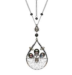 AUTORE Venezia Fer Forge' Necklace in white gold, set with Tahitian South Sea pearls, color diamonds in rustic grey, light yellow, black and white diamonds.