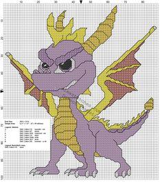 Spyro The Dragon free PlayStation 1 videogames cross stitch pattern