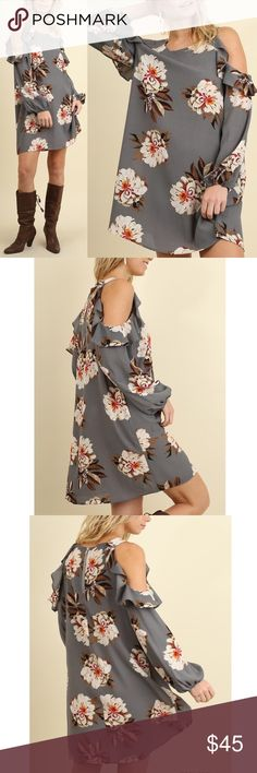 Stunning Cold Shoulder Charcoal Floral Dress! Gorgeous for fall! Loose fit with a shift cut - pretty ruffles Dresses