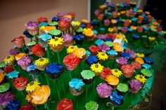 Rainbow cupcake garden if I ever have a lil girl this could be a fun idea for a shower or birthday