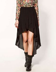 Unique Black Polyester Chiffon Long in Back Short in Front Women's Skirt - Skirts - Women's Clothing